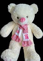 Мишка 68 см с милым розовым шарфом игрушка на подарок детские мягкие игрушки