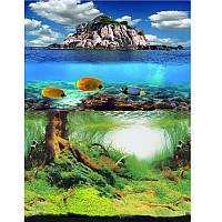 Фон для аквариума двусторонний подводный лес/море, высота 40 см, 9045/9067