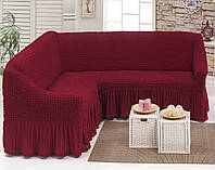 Обтягивающий  чехол на угловой диван