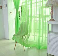 Готовые Шторы комплект для спальни из легкой ткани вуаль цвета зеленой травы 4 м.