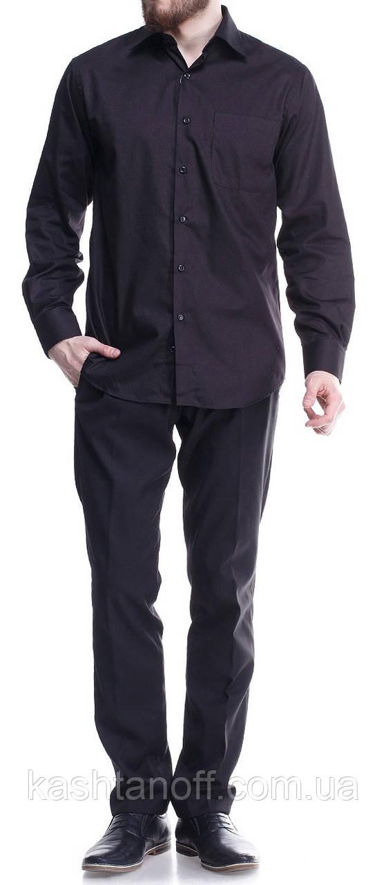 Мужская рубашка черного цвета 100% хлопок