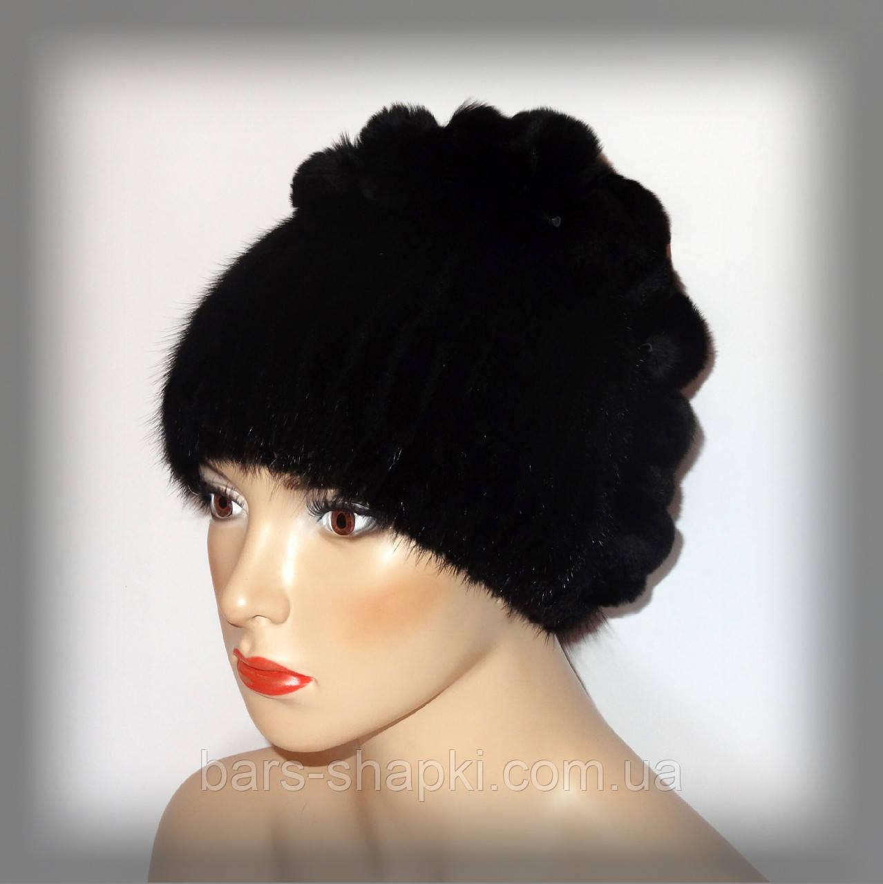 Женская меховая шапка из ондатры, комбинированная с Rex Rabbit