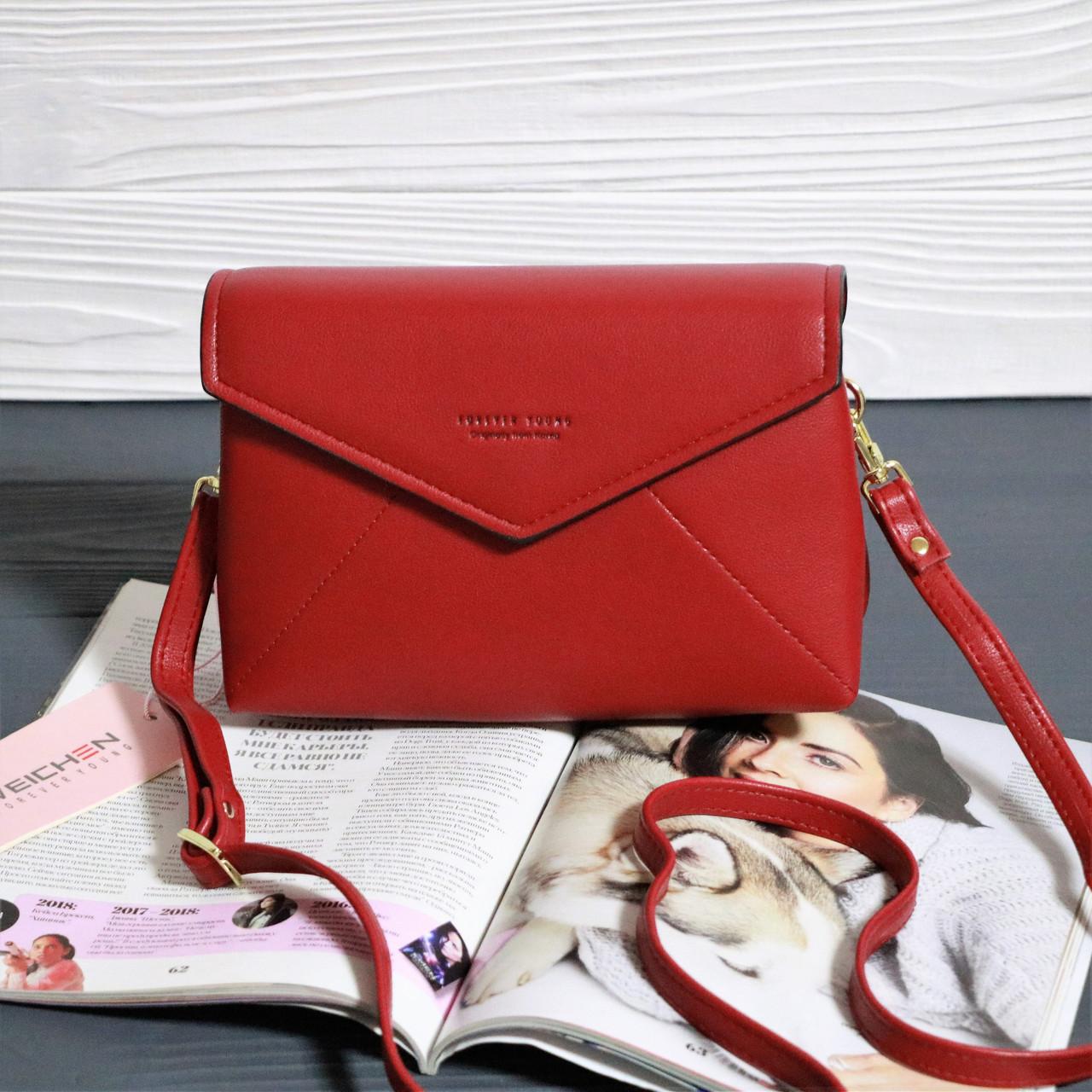 9a35e2cabc81 Женская сумка конверт Forever young Красная: продажа, цена в Обухове ...