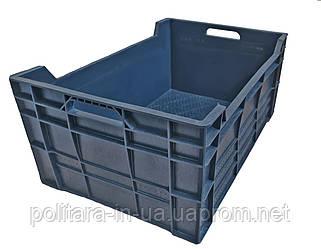 Ящик пластиковый  600x400x260 сплошной чёрный