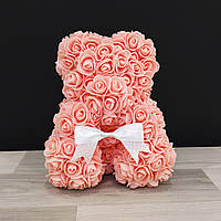 Мишка Из Роз Коралловый (на подарок девушке, любимой)
