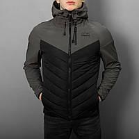 "Куртка мужская фирменная Pobedov Jacket ""Soft Shell combi V2 "" Grey-Black"