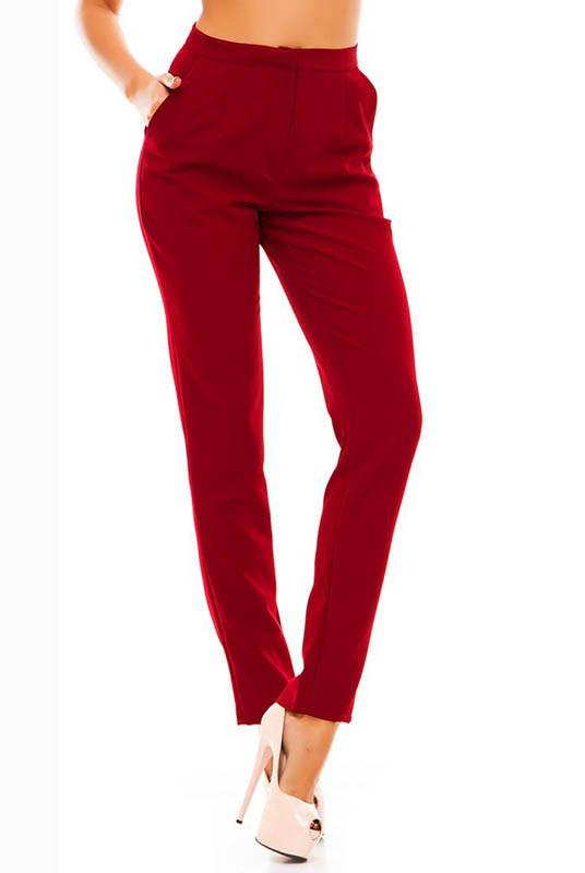 Модные зауженные к низу брюки Сислей, бордовый