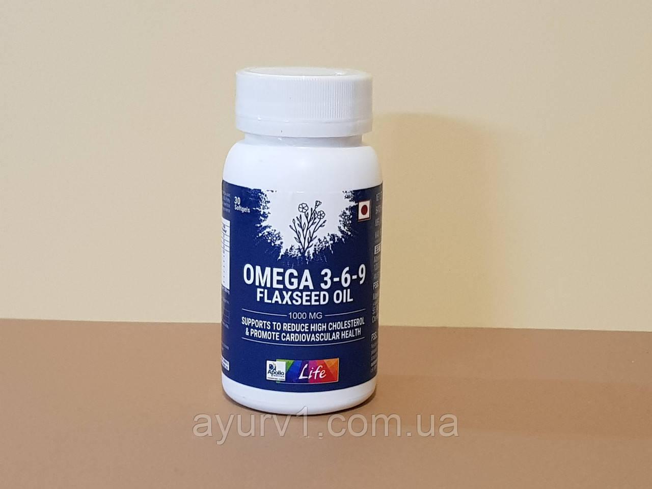Омега 3-6-9 1000мг, Аполло / Apollo Pharmacy Omega 3-6-9 Flaxseed Oil / - 30 кап