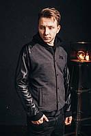 Мужской демисезонныйАРТ кашемировый Бомбер теплый черный с серым, фото 1