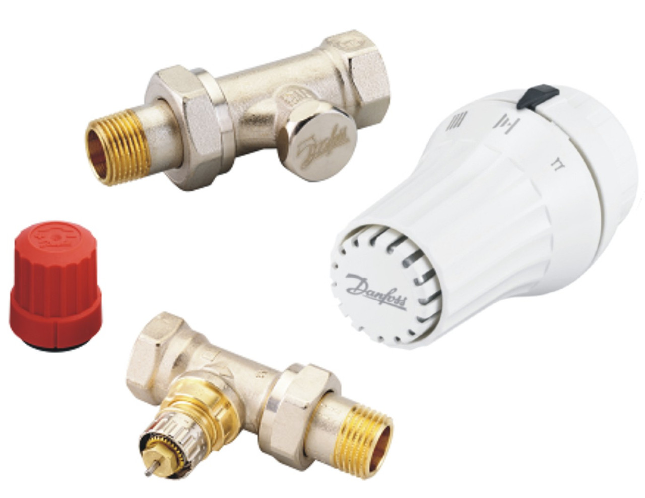 Комплект: прямой клапан RA-N + термоголовка RAE + клапан запорный RLV-S