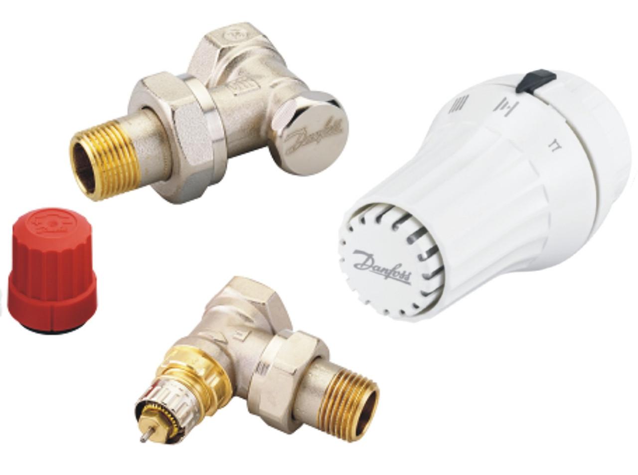 Комплект: угловой клапан RA-N + термоголовка RAE + клапан запорный RLV-S
