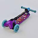 Самокат детский четыре колеса складной руль с фарой светящимися колесами фиолетовый деткам от 3 лет, фото 5