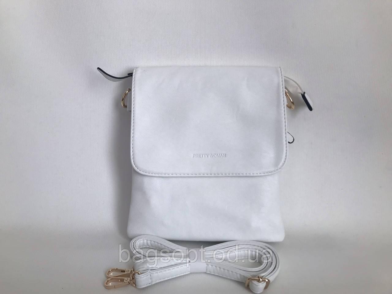 Белая женская сумка планшет через плечо на весну-лето Pretty woman Одесса 7 км