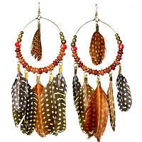 Сережки з пір'ям, руді, білі (серьги с перьями), фото 1