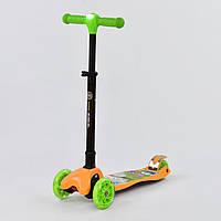 Самокат детский четыре колеса складной руль с фарой светящимися колесами желтый деткам от 3 лет