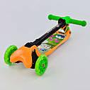 Самокат детский четыре колеса складной руль с фарой светящимися колесами желтый деткам от 3 лет , фото 5