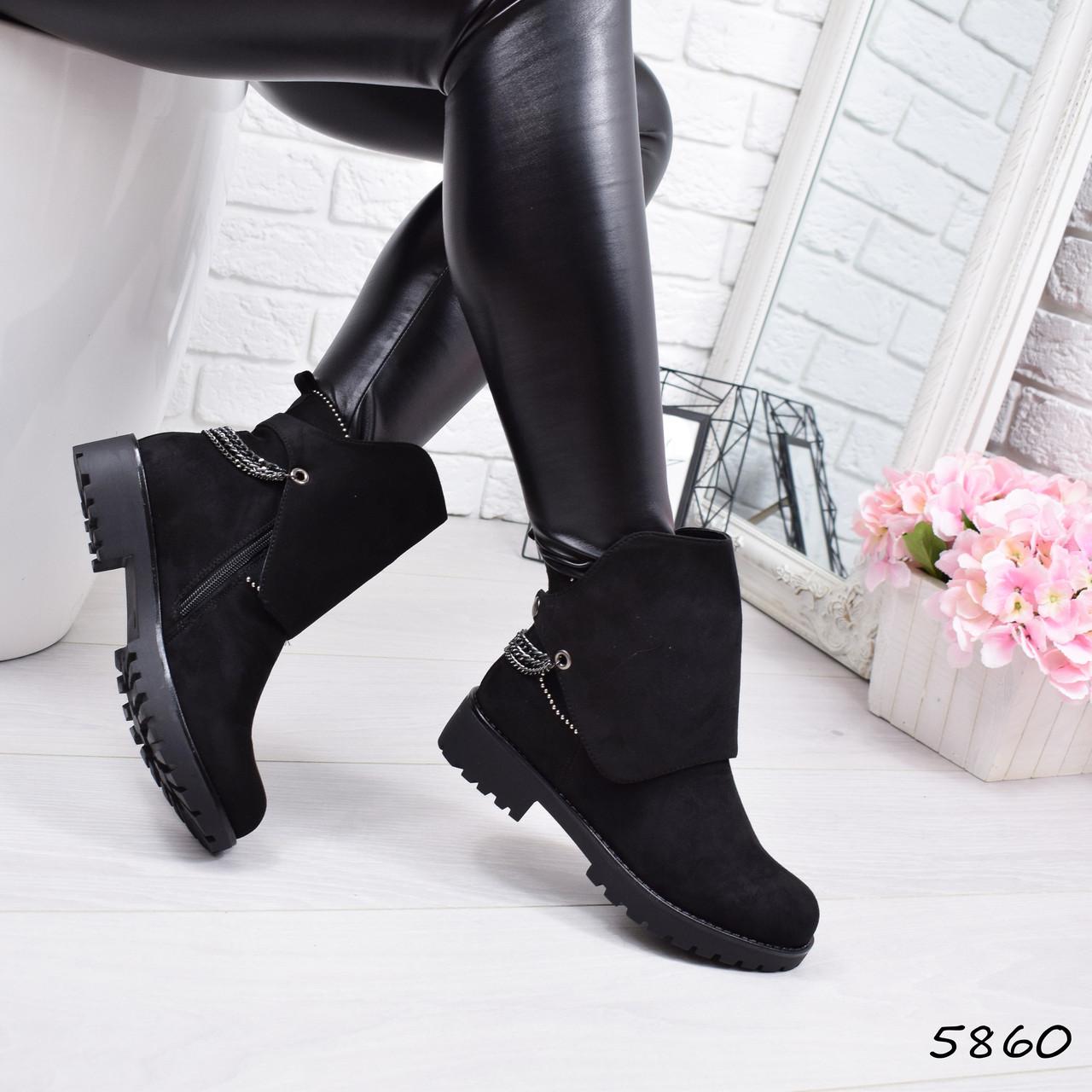 Ботинки женские Filonio черные замша 5860  ЗИМА р. 41