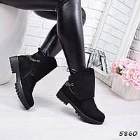 Ботинки женские Filonio черные замша 5860  ЗИМА р. 41, фото 1