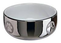 Миска для котов Trixie, керамическая, серебро/белая, 0,3л/11см