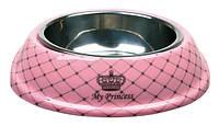 Миска для кошек Trixie Cat Princess, меламин+металл, розовая, 0,25мл/17см