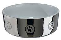 Миска для собак Trixie, керамическая, серебро/белая, 0,3л/12см, 25083 Trixie