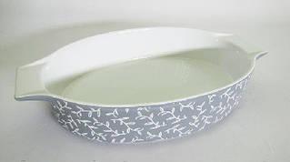 СВЧ Форма 41,3х25,3х7,5 см серая с пером керамика
