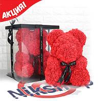 Мишка из 3D роз высота 25 см. в подарочной коробке