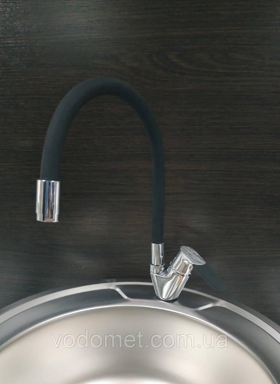 LEDEME LM4153-2 Смеситель для кухни с силиконовым изливом (Цвет черый)
