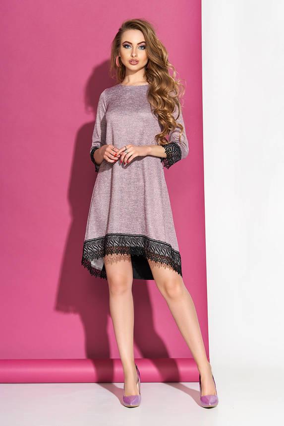 Платье трапеция с кружевом пудра, фото 2