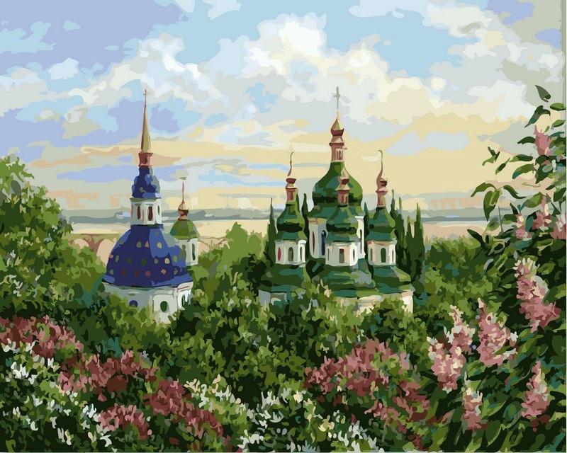 Рисование по номерам 40×50 см. Выдубицкий монастырь в Киеве