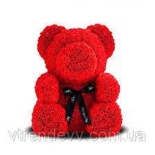 Мишка из роз с бантом, в подарочной коробке (средний 25 см) красный