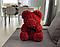 Мишка из роз с бантом, в подарочной коробке (средний 25 см) красный, фото 5