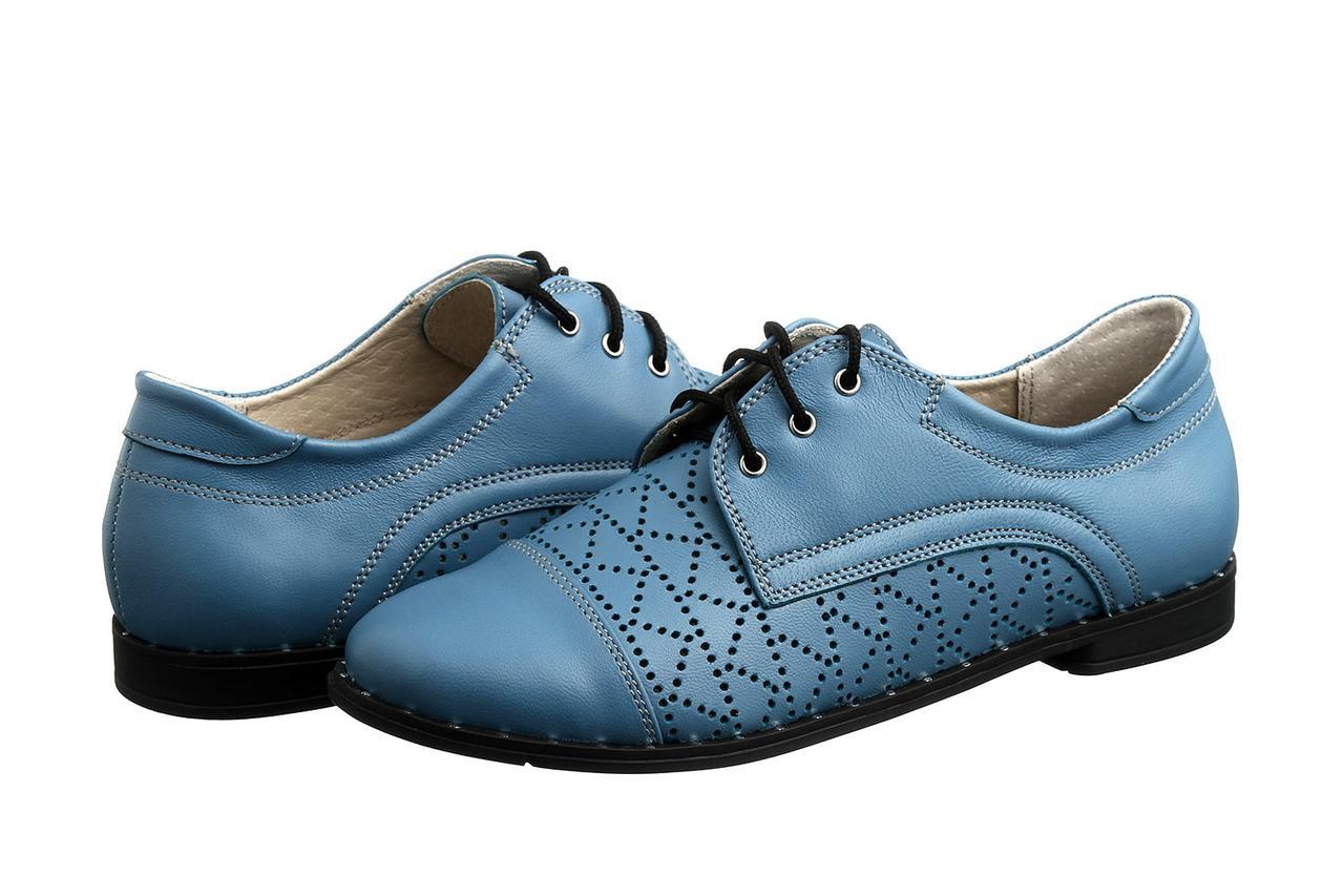 Боьшой размер туфли женские оксфорды голубые натуральная кожа Sei Un Mio Blu Perf by Rosso Avangard BS