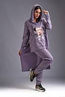 Женский ангоровый спортивный костюм с ассиметричной кофтой и капюшоном 48-50,52,54,56,58,60,62