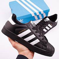 Кроссовки в стиле Adidas Superstar Black / White мужские