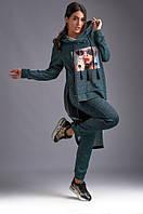Женский трикотажный спортивный костюм с ассиметричной кофтой и капюшоном 48-50,52,54,56,58,60,62