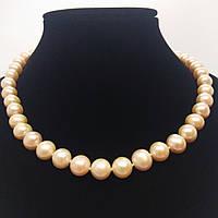 Ожерелье из качественного идеально подобранного жемчуга нежно кремового цвета с застежкой в виде сердечка