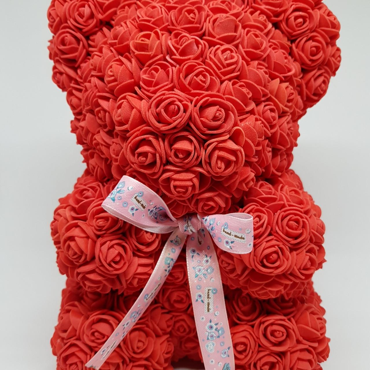 Подарочный Мишка из роз, Красный 25 см