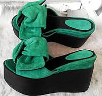 Сабо Star Банты! Босоножки женские замшевые зеленые шлепанцы на платформе