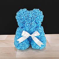 Мишка Из Роз Голубой (на подарок любимой, жене)