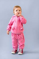Велюровый костюм  на хлопковой подкладке для маленькой  девочки, размеры 68-86, Модный карапуз 86