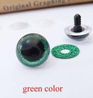Глаза Круглые Блестящий кант 11мм Зеленый, 1пара
