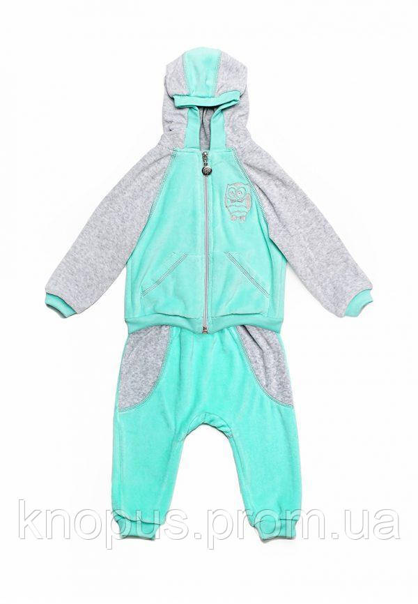 Велюровый костюм  на хлопковой подкладке для маленького мальчика, размеры 74-86, Модный карапуз