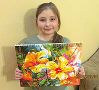 """Картина по номерам """"Яркий гибискус"""", VD062, 30х40см. Выполнила Павлишина Анастасия, 11 лет."""