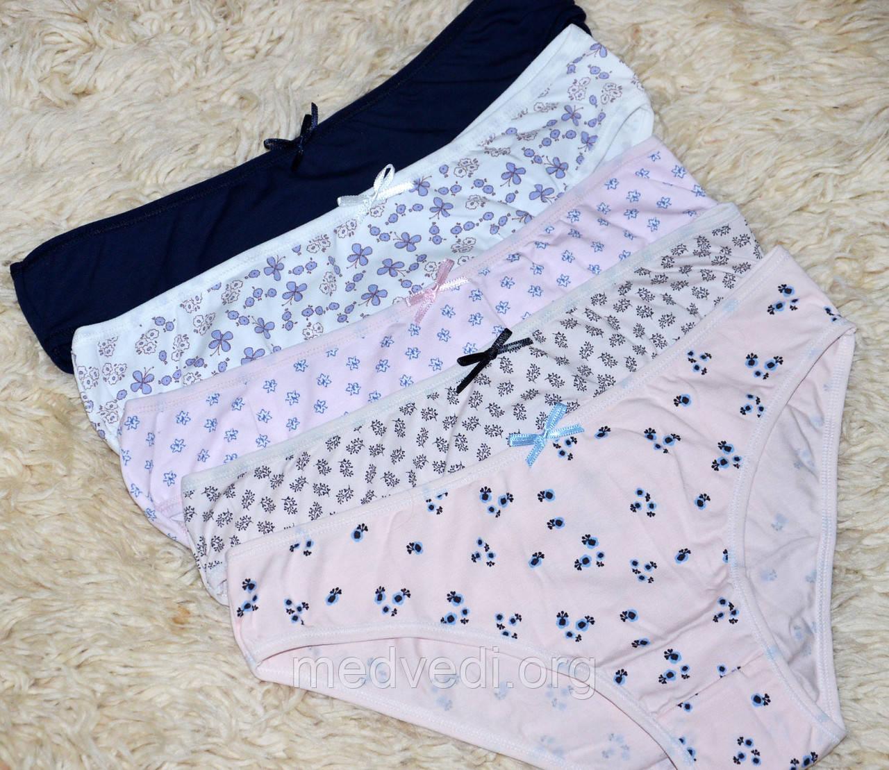 Набор женских трусов, комплект из 5 штук, хлопок, Турция размер M, синие, розовые, сиреневые, белые, бежевые