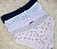 Набор женских трусов, комплект из 5 штук, хлопок, Турция размер XL, синие, розовые, сиреневые, белые, бежевые