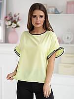Желтая Блузка Адель с коротким рукавом, фото 1