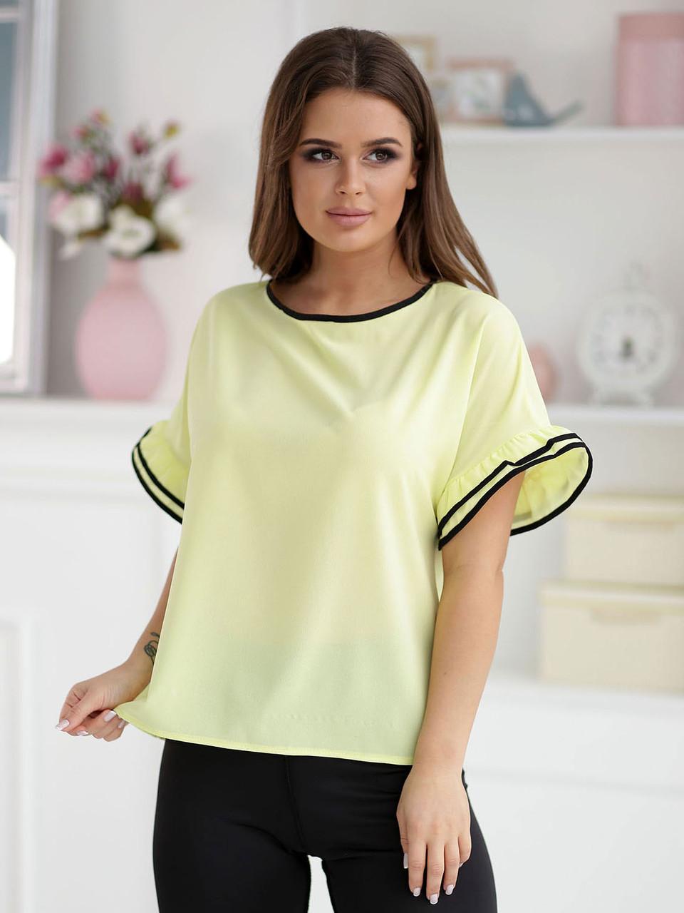 Желтая Блузка Адель с коротким рукавом
