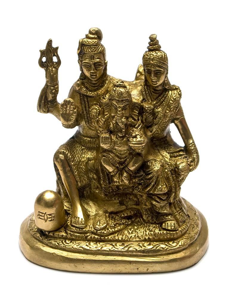 Шива парвати и ганеша (11х10х7 см)(ganesh-shiv family small ch)