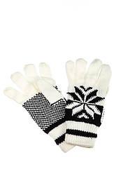 Перчатки вязанные женские с узором 254V004-1 (Бело-черный)